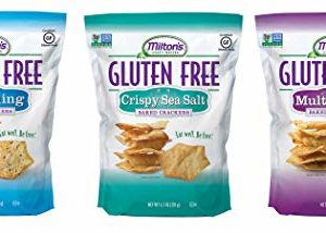 Milton's Gluten Free Baked Crackers, 3 Flavor Variety Bundle. Crispy & Gluten-Free Baked Grain Crackers (Crispy Sea Salt, Everything, and Multi-Grain, 4.5 oz).