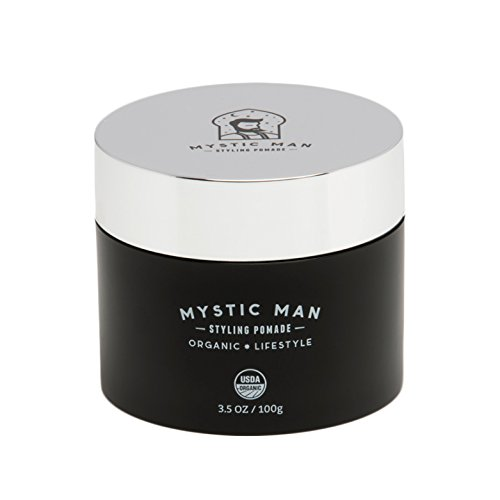 Mystic Man Styling Pomade & Beard Balm Oil - USDA Certified Organic with Sedr Extract - Hypoallergenic - Flexible Hold - 3.5 oz