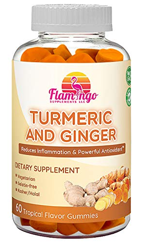 Flamingo Supplements - Turmeric Curcumin & Ginger Chewable Gummies for Adults and Children. Anti Inflammatory Supplement for Joint Relief. Vegetarian, Kosher & Halal, Gluten Free, Non GMO. 60 Count