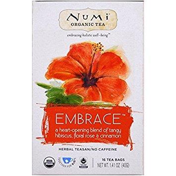NUMI TEA, Herb Tea, Og2, Embrace, Pack of 6, Size 16 CT, (Gluten Free GMO Free 95%+ Organic)