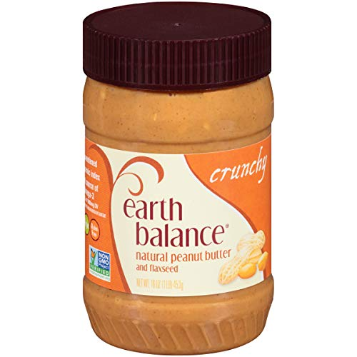Earth Balance Natural Peanut Butter and Flaxseed Spread, Crunchy, Vegan, Non-GMO Project Verified, Gluten Free, 16 Ounce