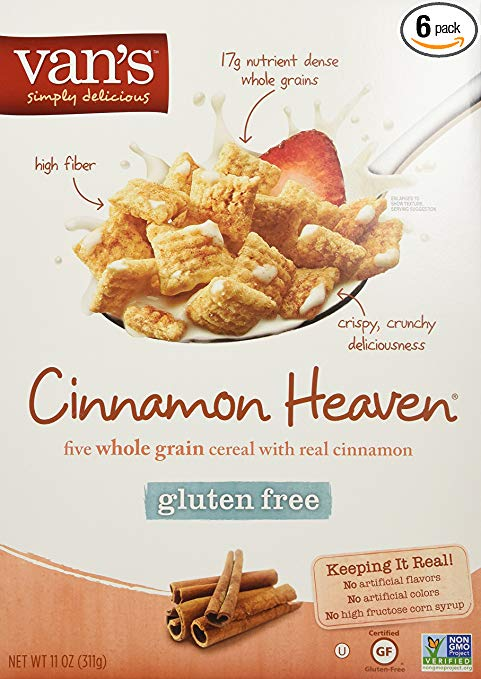 Van's Natural Foods - Cinnamon Heaven, Whole Grain Gluten Free Cereal (Also NO; Dairy, Corn & Egg), Get SIX Boxes and SAVE, Each Box has 11 Oz