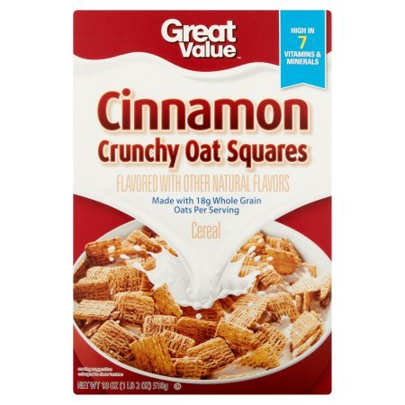 Great Value Cinnamon Crunchy Oat Squares Cereal, 18 oz