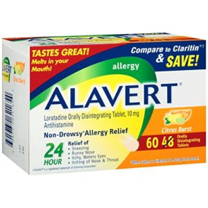 Alavert Allergy 24-Hour Relief (60 Count Citrust Burst Flavor Orally Disintegrating Tablets), Non-Drowsy, Antihistamine