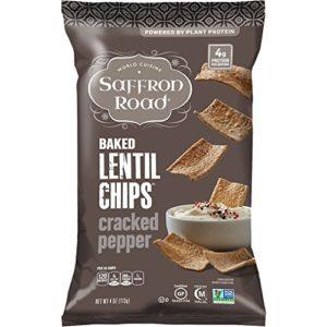 Saffron Road Baked Lentil Chips, Cracked Pepper, 4 Ounce (Pack of 12)