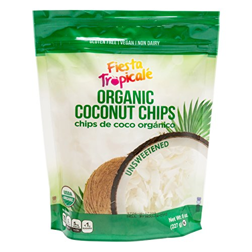 Organic Shredded Coconut Chips (Large Coconut Flakes), Unsweetened, Gluten Free, Sugar Free, Great Toasted for Vegan, Paleo, Keto Snacks, Trail Mix, Granola - 8oz. Bag (Count of 3) by Fiesta Tropicale