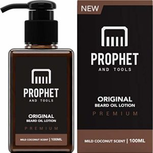 NEW Beard Oil Lotion for Thicker Facial Hair Grooming | 100ML - The All-In-1 Conditioner and Shampoo-like Softener, Shine and Fuller Beards/Mustache Growth - NUTS-FREE & VEGETARIAN! Prophet and Tools