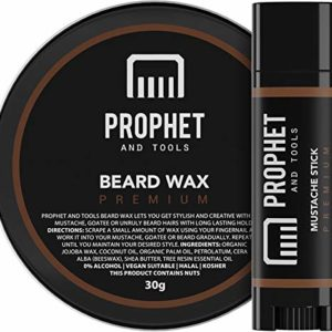 NEW PREMIUM Beard Wax & Mustache Stick Set | Hold Level = STRONG - Style, Straighten and Mold Facial Hair - ORGANIC, VEGETARIAN & HALAL! Prophet and Tools