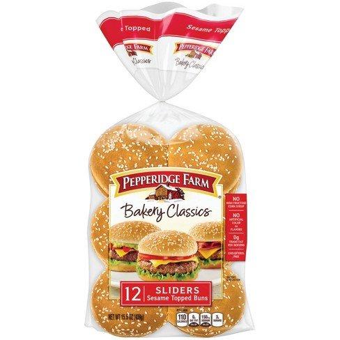 Pepperidge Farm Bakery Classics Sesame Topped Sliders 12 Ct (Pack of 2)