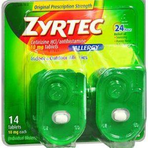 Zyrtec 24 Hour Allergy Relief Tablets, 10 mg Cetirizine HCl Antihistamine Allergy Medicine, 14 ct