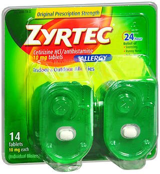 Zyrtec 24 Hour Allergy Relief Tablets, 10 mg Cetirizine HCl Antihistamine Allergy Medicine, 14 ct