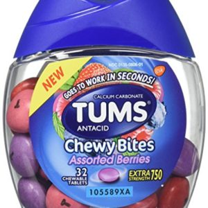 Tums Antacid Chewy Bites, Assorted Berries, 32 Chewable Tablets (Pack of 2)