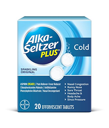 Alka-Seltzer Plus Cold Medicine, Sparkling Original Effervescent Tablets with Pain Reliever/Fever Reducer, Sparkling Original, 20 Count