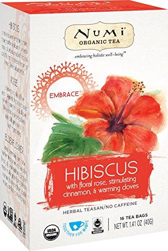 Numi Organic Tea Hibiscus, 16 Count Box of Tea Bags (Pack of 6) Holistic Herbal Teasan (Packaging May Vary)