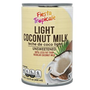 Light Coconut Milk, Low-Fat, Unsweetened, BPA-Free, Gluten free, Dairy Free, No thickeners,Great for latte, curry, Keto Recipes - 13.5 oz. Cans (Count of 6) by Fiesta Tropicalé