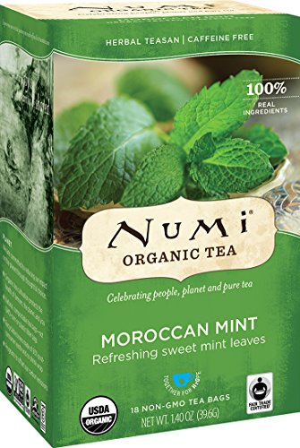 Numi Organic Tea Moroccan Mint, 18 Count Box of Tea Bags (Pack of 3) Herbal Teasan (Packaging May Vary)