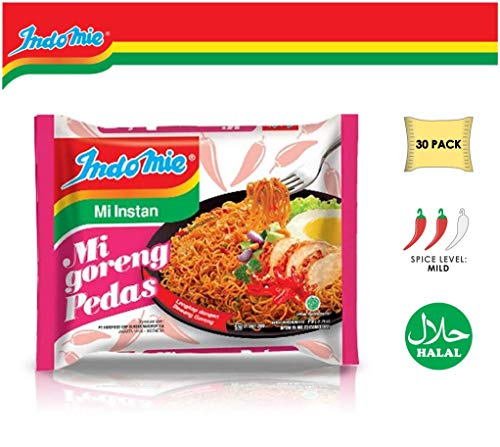 Indomie Instant Fried Noodles Hot & Spicy (Mi Goreng Pedas) Flavor 2.82 oz (30 packs)