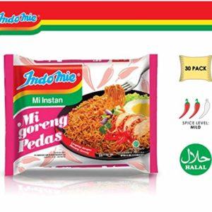 Indomie Mi Goreng Instant Stir Fry Noodles, Halal Certified, Hot & Spicy / Pedas Flavor (Pack of 30)