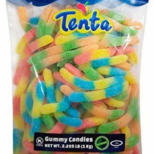 Tenta Gummi Sour Neon Worms - Halal, Kosher, Gluten Free Gummy Candy - 2.205 LB (1 Kg)