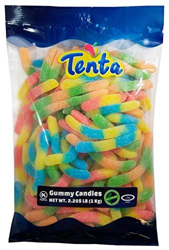 Tenta Gummi Sour Neon Worms – Halal, Kosher, Gluten Free Gummy Candy – 2.205 LB (1 Kg)