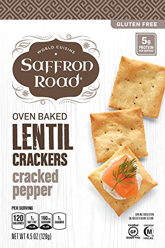 Saffron Road Oven Baked Lentil Crackers, Non-GMO, Gluten-Free, Halal, Cracked Pepper, 4.5 Ounce (Pack of 6)