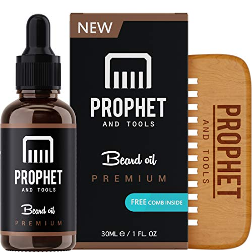 PREMIUM Unscented Beard Oil and Comb Kit for Thicker Facial Hair Grooming - The All-In-One Conditioner and Shampoo-like Softener, Shine and Fuller Beards & Mustache Growth - NUTS-FREE & VEGAN! Prophet