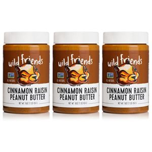 Wild Friends Foods Natural Peanut Butter, Cinnamon Raisin, Gluten Free, Palm Oil Free, 3 Count