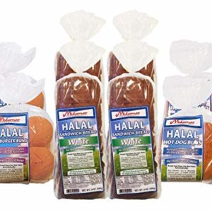 Halal Bread Variety - 2 loaves White Sandwich - 2 Burger Buns - 2 hot dog buns