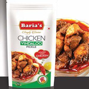 Baria's Chicken Vindaloo Pickle, Halal Meat, Goan Recipe, Indian Chicken Pickle - 200 grams (7 oz)