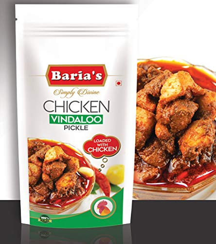 Baria's Chicken Vindaloo Pickle, Halal Meat, Goan Recipe, Indian Chicken Pickle - 200 grams (7 oz)