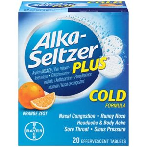 Alka-Seltzer Plus Orange Zest Cold Formula Effervescent Tablets, 20 Tablets (Pack of 3)