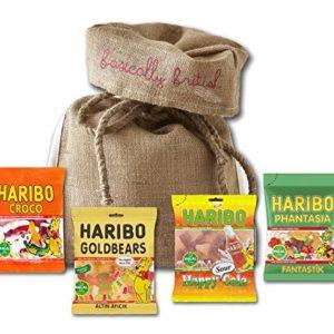 Haribo Halal Gummy Bears by The Yummy Palette | Halal Haribo Cola Halal Haribo Gold Bears in Basically British Burlap Gift Bag