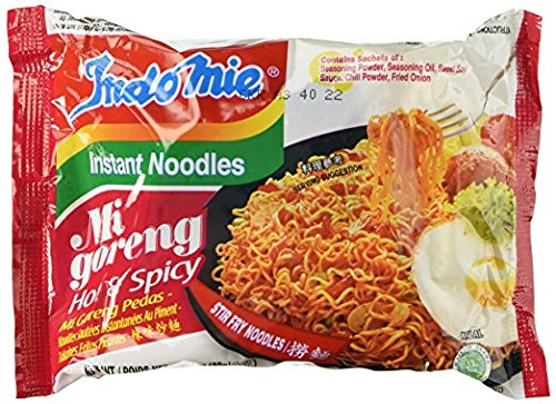 Indomie Mi Goreng Instant Halal Stir Fry Noodles, Hot and Spicy, 3 Ounce
