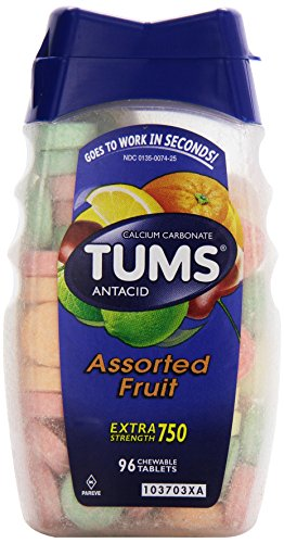 Tums Antacid/Calcium Supplement, Extra Strength, Assorted Fruit, Tablets 96 ct
