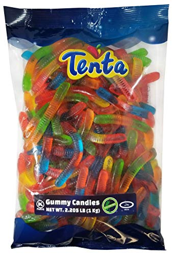 Tenta Gummi Worms - Halal, Kosher, Gluten Free Gummy Candy - 2.205 LB (1 Kg)