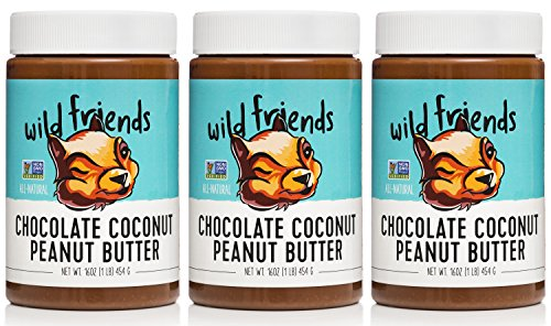Wild Friends Chocolate Coconut Peanut Butter, 16 Ounce Jars (3 Count), Gluten Free, Palm Oil Free