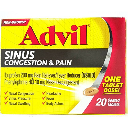 Advil Congestion Relief (20 Count) Pain Reliever / Fever Reducer Coated Tablet, 200mg Ibuprofen, Nasal Decongestant, Sinus Pressure