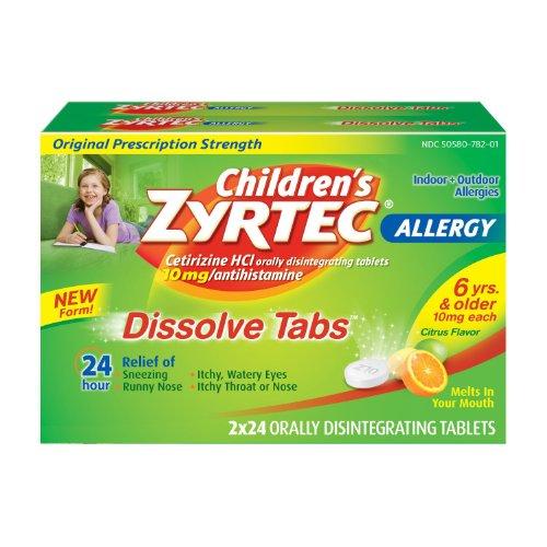 Zyrtec Childrens 24HR Allergy Dissolve Tablets, Citrus Flavor (48 ct.) by Zyrtec
