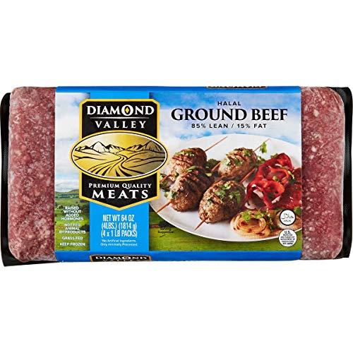 Diamond Valley Halal Ground Beef 85/15 Hamburger, 4 lbs (2 Pack)
