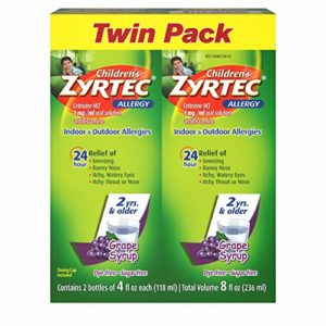 Children's Zyrtec 24 Hr Children's Allergy Syrup with Cetirizine, Sugar-Free Grape, Twin Pack of 4 Fl. Oz, 8 fl. oz.