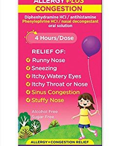 Benadryl-D Children's Allergy & Sinus Liquid Grape Flavored 4 OZ - Buy Packs and SAVE (Pack of 2)