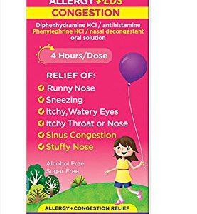Benadryl-D Children's Allergy & Sinus Liquid Grape Flavored 4 OZ - Buy Packs and SAVE (Pack of 2)