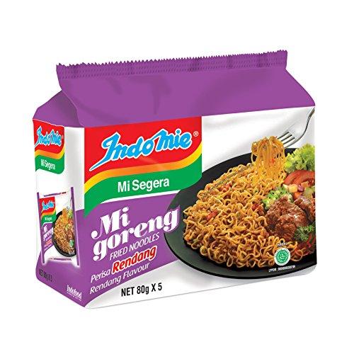 Indomie Instant Fried Noodles/Rendang Flavor/Chewy Noodles Excellent Taste/Total 10 packs x 80g