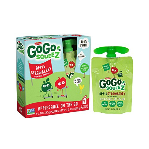 GoGo squeeZ Applesauce on the Go, Apple Strawberry, 3.2 Ounce Portable BPA-Free Pouches, Gluten-Free, 48 Total Pouches (12 Boxes with 4 Pouches in Each)
