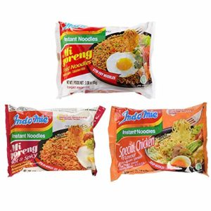 Indomie Instant Noodle 3 Flavors Variety (Pack of 30) - Fried Noodles, Hot Spicy, Special Chicken (10 packs each)