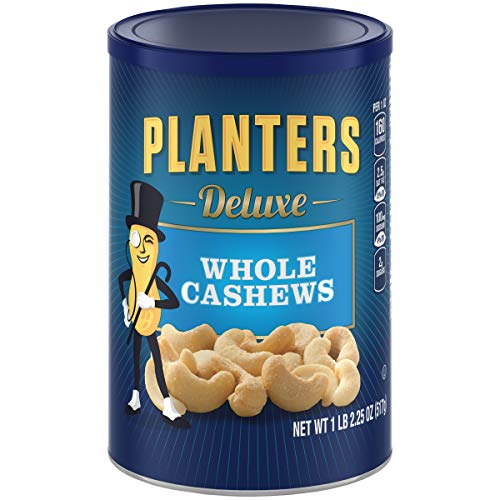 Planters Deluxe Whole Cashews, 1Lb 2.25 Oz (517g/18.25 Oz Canister)