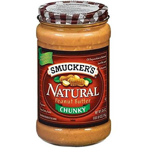 Smucker's Natural Chunky Peanut Butter, 26-ounce Glass Jars