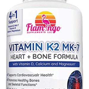 Flamingo Supplements- Vitamin K2 (MK7) Plus Vitamin D3, Calcium and Magnesium Enhanced Formula - Supports Cardiovascular and Immune System - 100 Tabs