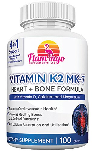 Flamingo Supplements- Vitamin K2 (MK7) Plus Vitamin D3, Calcium and Magnesium Enhanced Formula – Supports Cardiovascular and Immune System – 100 Tabs