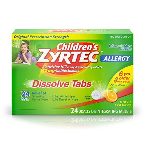 Children's Zyrtec 24 HR Dissolving Allergy Relief Tablets with Cetirizine, Citrus Flavored, 24 ct